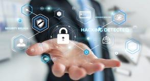 使用阻拦的抗病毒的商人网络攻击3D翻译 图库摄影