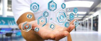 使用阻拦的抗病毒的商人网络攻击3D翻译 免版税库存照片