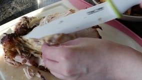 使用陶瓷厨师刀子的妇女的行动和切开鸡 股票录像