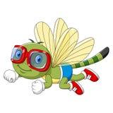 使用风镜的动画片滑稽的蜻蜓 向量例证