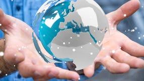 使用飞行白色和蓝色3D翻译地球的商人 免版税库存照片
