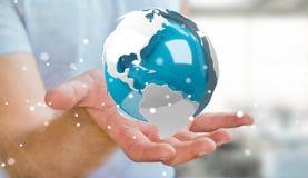 使用飞行白色和蓝色3D翻译地球的商人 图库摄影