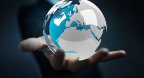 使用飞行白色和蓝色3D翻译地球的商人 库存图片
