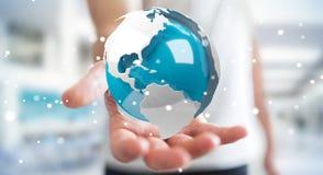 使用飞行白色和蓝色3D翻译地球的商人 免版税库存图片