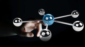使用飞行的3D球形网络3D翻译的女实业家 免版税库存照片