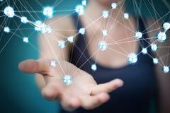 使用飞行网络球连接3D翻译的女实业家 免版税库存照片