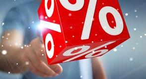 使用飞行象3D翻译的白色和红色销售的商人 免版税库存照片