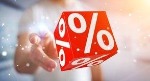使用飞行象3D翻译的白色和红色销售的商人 免版税图库摄影