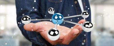 使用飞行3D球形网络3D翻译的商人 免版税库存图片