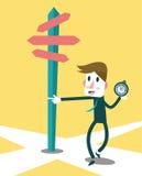 使用驾驶的指南针的商人成功方式 免版税库存照片