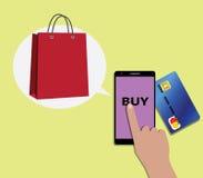 使用移动设备智能手机和shooping的袋子的网上购物概念 免版税库存照片