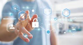 使用阻拦的抗病毒的商人网络攻击3D翻译 免版税图库摄影