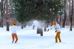 使用年轻的夫妇画象微笑和在冬天打雪仗 免版税图库摄影