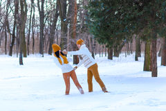 使用年轻的夫妇画象微笑和在冬天打雪仗 免版税库存照片