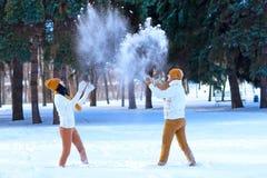 使用年轻的夫妇画象微笑和在冬天打雪仗 免版税库存图片