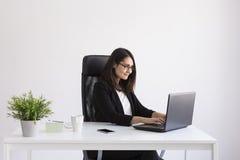 使用他的膝上型计算机的美丽的年轻女商人在办公室 库存图片
