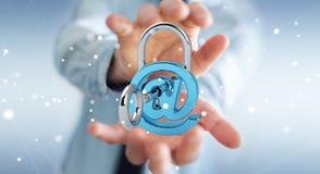 使用3D的商人回报数字式挂锁巩固他的inte 免版税库存照片