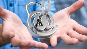 使用3D的商人回报数字式挂锁巩固他的inte 图库摄影