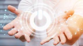 使用3D的商人回报有连接的力量按钮 免版税库存照片