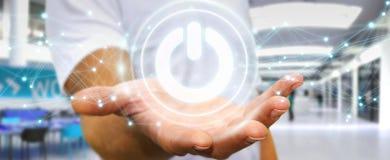 使用3D的商人回报有连接的力量按钮 库存照片
