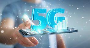 使用5G网络的商人与手机3D翻译 免版税图库摄影