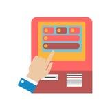 使用ATM机器概念传染媒介例证的人的手 免版税库存照片