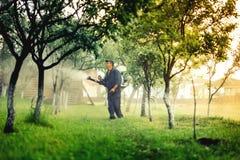 使用mistblower的工作者为毒性杀虫剂发行在果树园 免版税库存图片