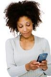 使用PDA的妇女的特写镜头 免版税库存图片