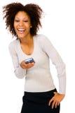 使用PDA的微笑的妇女 免版税库存图片