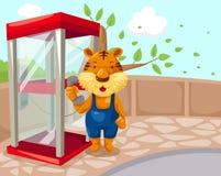 使用phonebooth的老虎 免版税库存照片