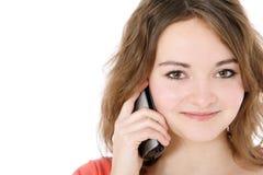 使电话的应召女郎少年 图库摄影