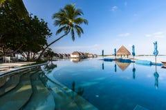 使看法靠岸在四个季节手段马尔代夫在Kuda Huraa 免版税库存照片