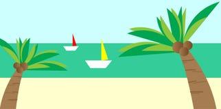 使看法靠岸有椰子树和小船传染媒介背景 图库摄影