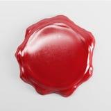 使红色蜡封印空白大模型的3d被隔绝在白色backgr 免版税库存照片