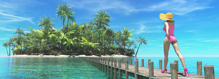 使美丽的热带妇女靠岸 免版税图库摄影