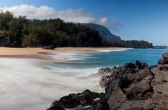 使考艾岛lumahai靠岸 库存照片