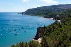 使葡萄牙通配的setubal靠岸 免版税库存图片