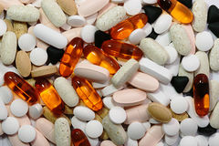 使许多药片服麻醉剂 库存照片