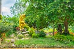 使设计环境美化放松有一名妇女的雕象的热带庭院有喷壶的 免版税库存图片