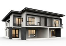 使豪华样式的现代房子3d被隔绝在白色背景 皇族释放例证