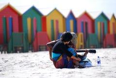 使音乐家靠岸 库存照片
