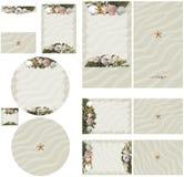 使贝壳靠岸,并且在白色沙子婚礼邀请的海草题材设置了2 免版税库存图片