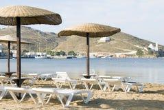 使cyclades希腊ios海岛靠岸 免版税库存图片
