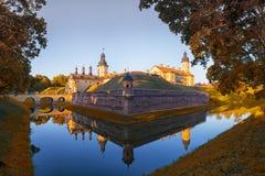 例如白俄罗斯语的历史遗产的涅斯维日城堡 免版税库存照片