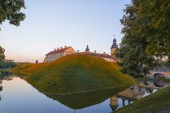 例如Radzivil家庭白俄罗斯语的历史遗产的涅斯维日城堡  图库摄影