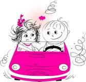 例证、爱人和妇女骑马在汽车 库存照片