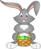 例证与篮子的复活节兔子 免版税库存照片