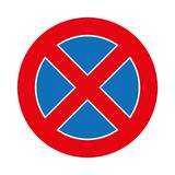 例证交通在白色隔绝的禁止停车标志图表 免版税图库摄影