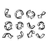 例证传染媒介乱画在白色backgr设置的手拉的箭头 免版税库存图片