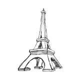 例证传染媒介乱画手拉剪影巴黎埃菲尔拖曳 向量例证